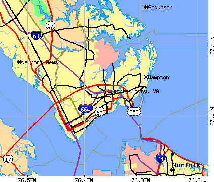 Hampton city, VA map