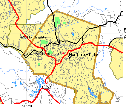 Martinsville city, VA map