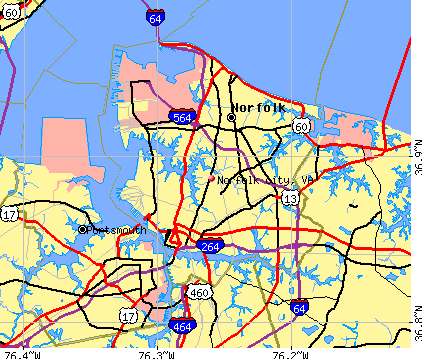 Norfolk city, VA map