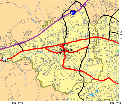 Salem city, VA map