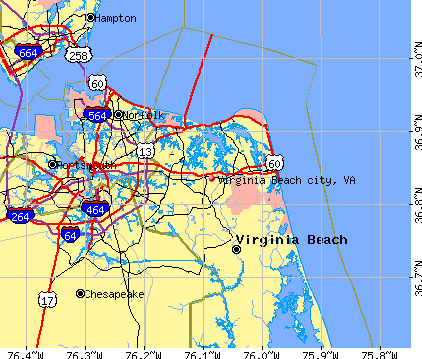 Virginia Beach city, VA map