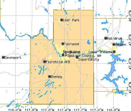 Spokane County, WA map