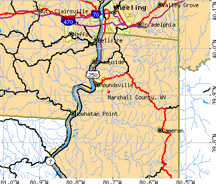 Marshall County, WV map