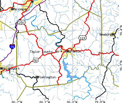 Taylor County, WV map
