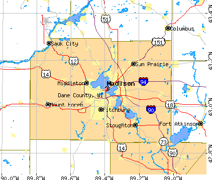 Dane County, WI map