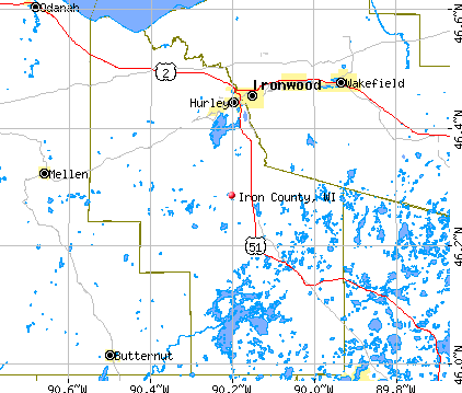 Iron County, WI map