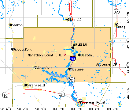 Marathon County, WI map