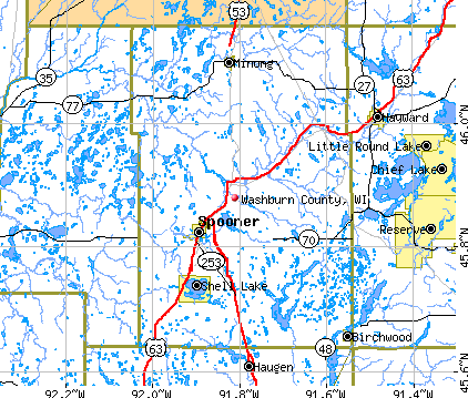 Washburn County, WI map
