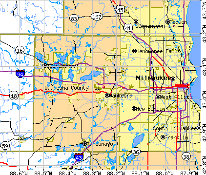 General Map; Google Map; MSN Map. Waukesha County, WI map
