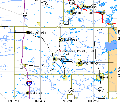 Waushara County, WI map