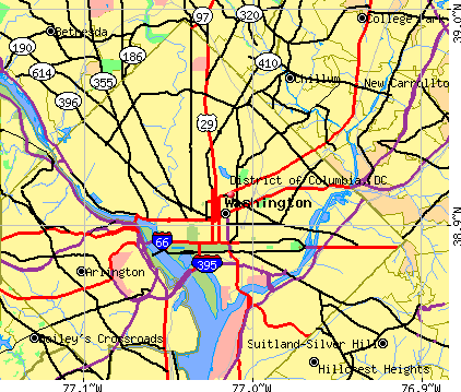 District of Columbia, DC map