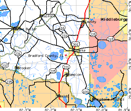 Bradford County, FL map