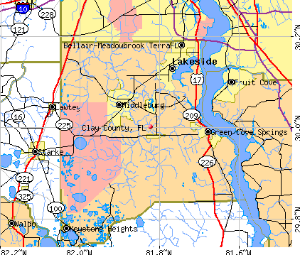 Clay County, FL map