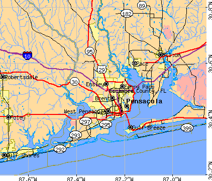 Escambia County, FL map
