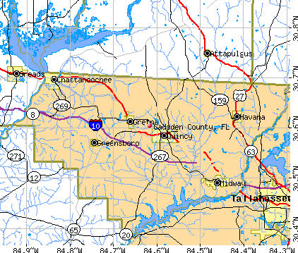 Gadsden County, FL map