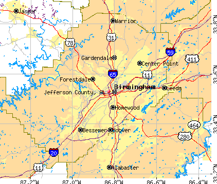 Jefferson County, AL map