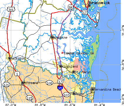 Camden County, GA map