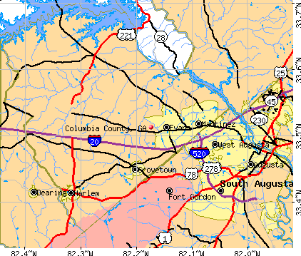 Columbia County, GA map