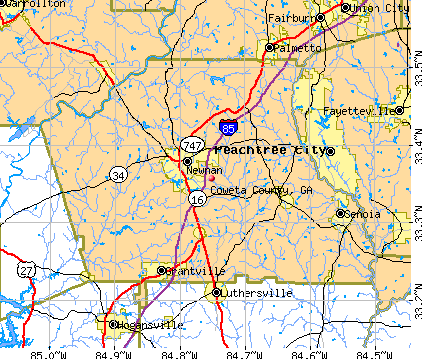 Coweta County, GA map