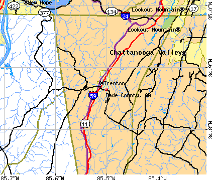 Dade County, GA map