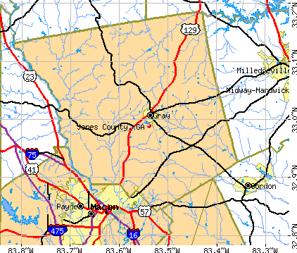 Jones County, GA map