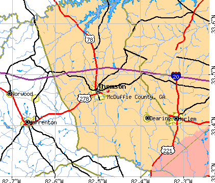 McDuffie County, GA map