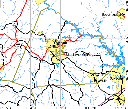 Stephens County, GA map