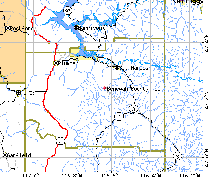 Benewah County, ID map