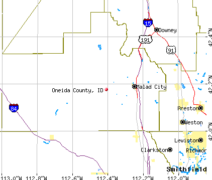 Oneida County, ID map