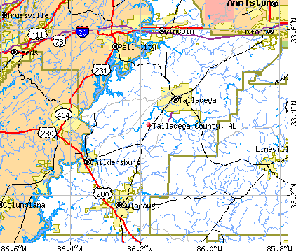 Talladega County, AL map