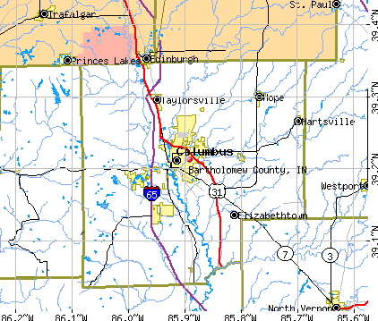 Bartholomew County, IN map