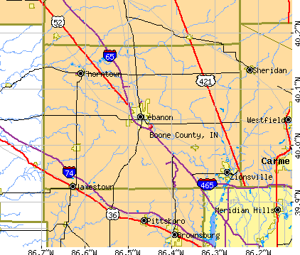 Boone County, IN map