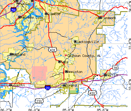 Calhoun County, AL map