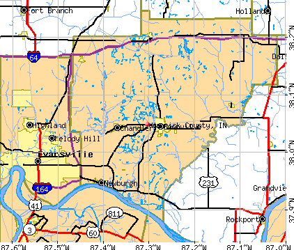 Warrick County, IN map