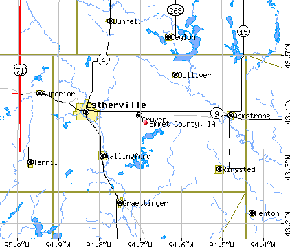 Emmet County, IA map