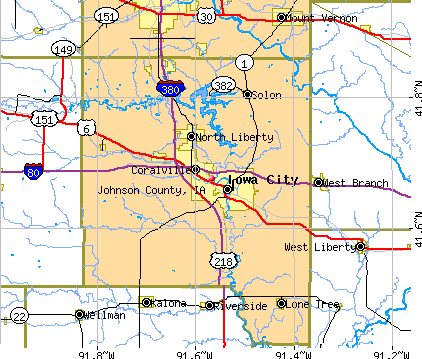 Johnson County, IA map