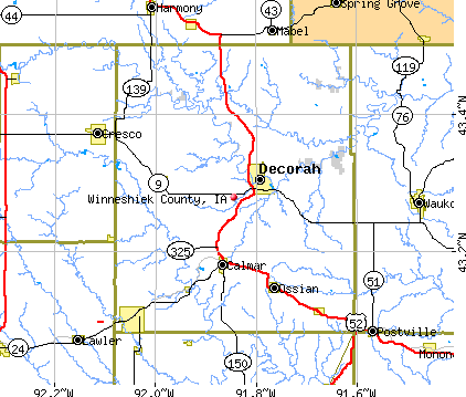 Winneshiek County, IA map