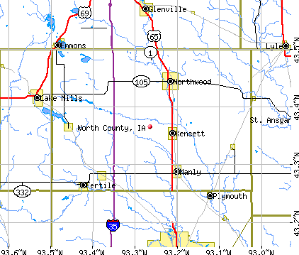 Worth County, IA map
