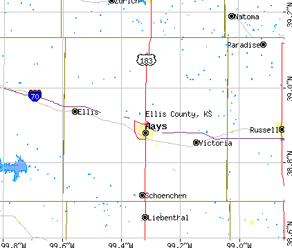 Ellis County, KS map