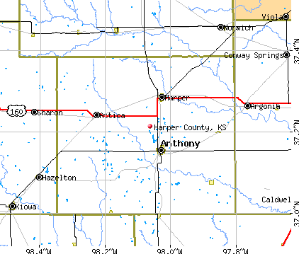 Harper County, KS map