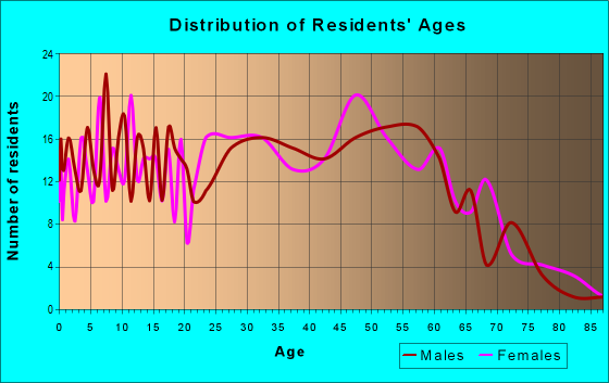 Age and Sex of Residents in zip code 03465