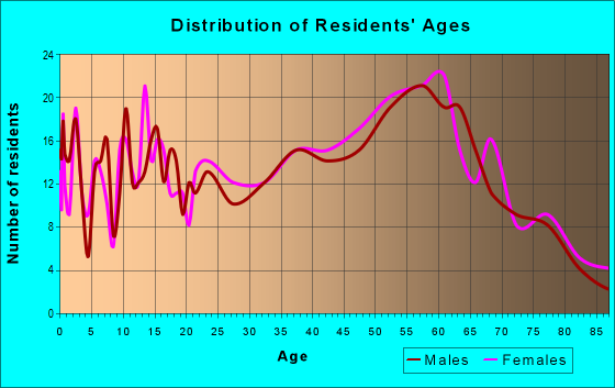 Age and Sex of Residents in zip code 03785