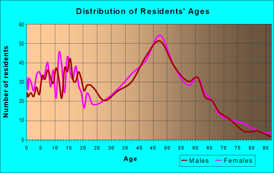 Age and Sex of Residents in zip code 03858