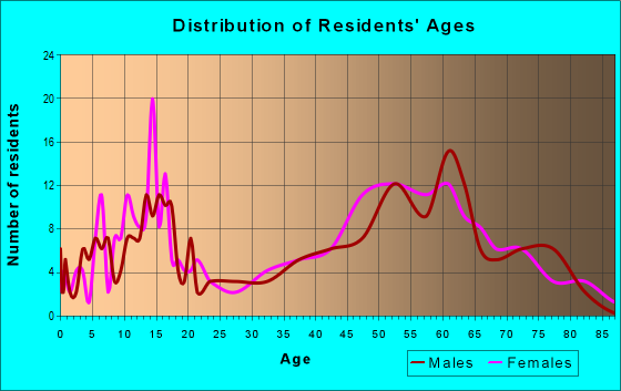 Age and Sex of Residents in zip code 04051