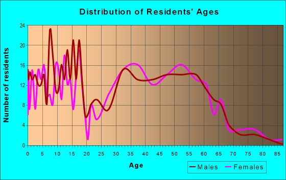 Age and Sex of Residents in zip code 04085