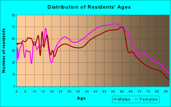 Age and Sex of Residents in zip code 05001