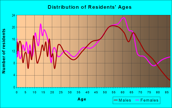 Age and Sex of Residents in zip code 12167