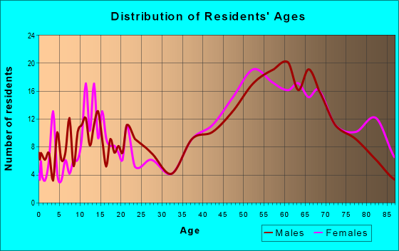 Age and Sex of Residents in zip code 12455