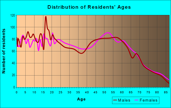 Age and Sex of Residents in zip code 12701