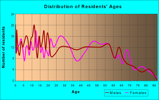 Age and Sex of Residents in zip code 12789